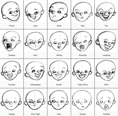 Face facial expression emotions drawing tutorial how